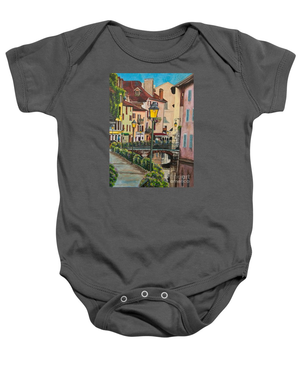 Annecy France Art Baby Onesie featuring the painting Side Streets In Annecy by Charlotte Blanchard