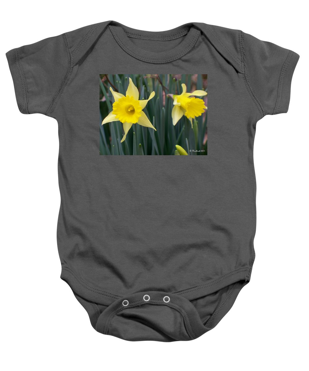 Daffodil Baby Onesie featuring the photograph Sign Of Spring by Betty Northcutt