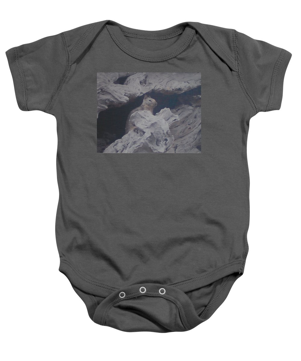 Squirrel Baby Onesie featuring the photograph Silent Observer by Pharris Art