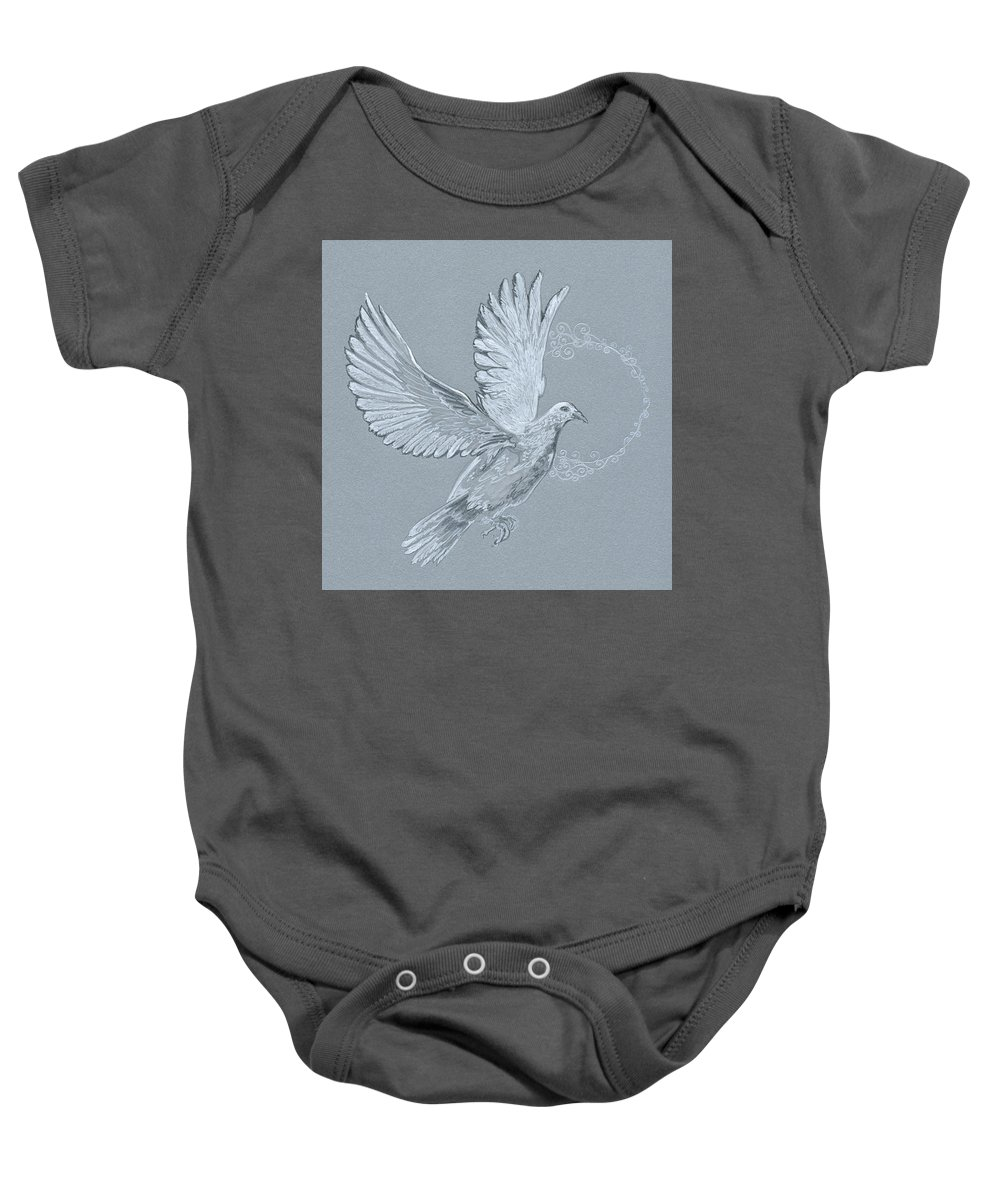 Dove Baby Onesie featuring the drawing Silver Dove by Katherine Nutt