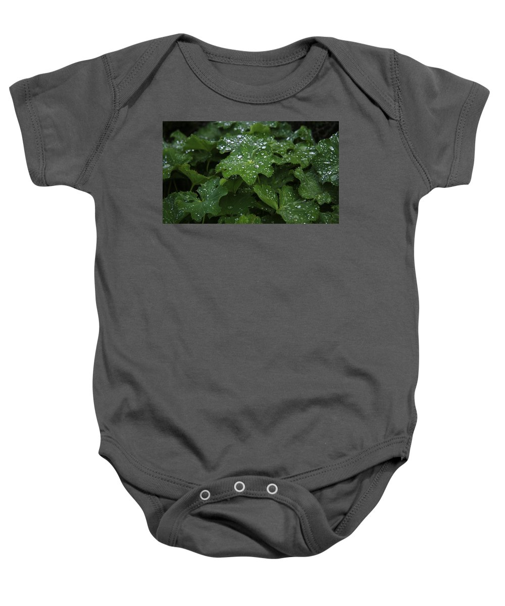 Silver Baby Onesie featuring the photograph Silver Droplets by Steven Mungur