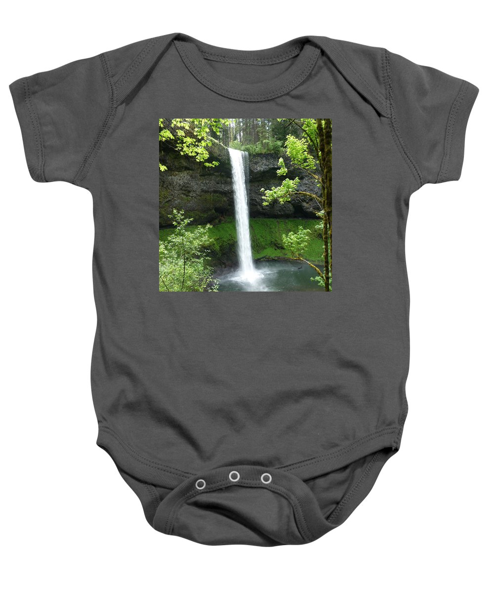 Columbia Gorge Baby Onesie featuring the photograph Silver Falls 1 by Ingrid Smith-Johnsen