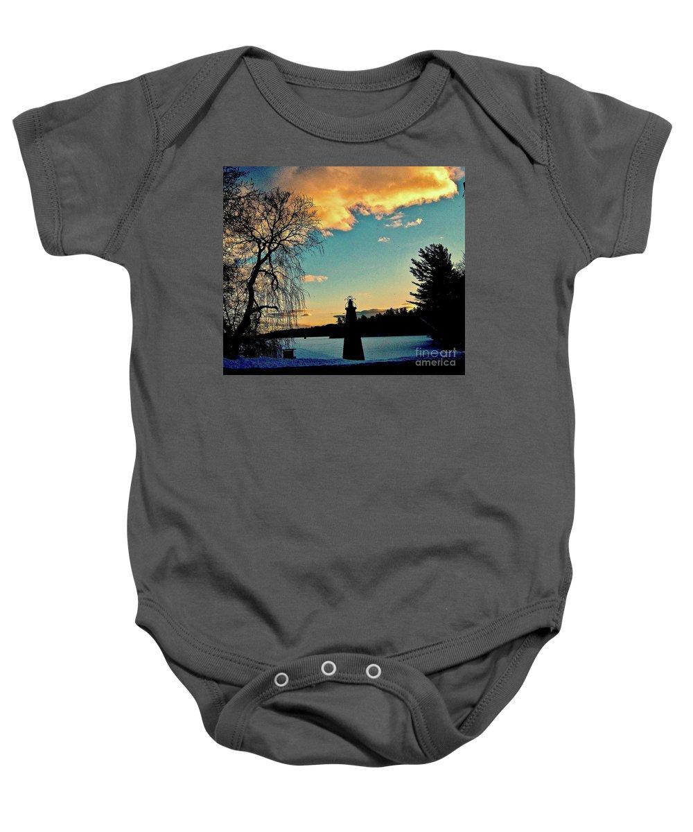 Willow Tree Baby Onesie featuring the photograph Silver Lake Sundown by Elizabeth Tillar