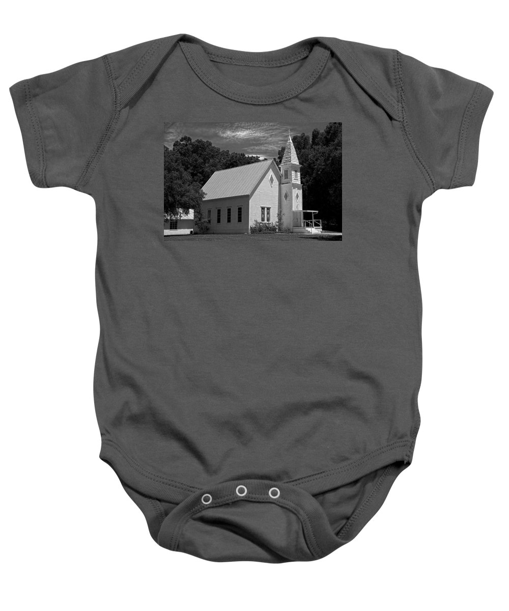 Church Baby Onesie featuring the photograph Simple Country Church - Bw by Christopher Holmes