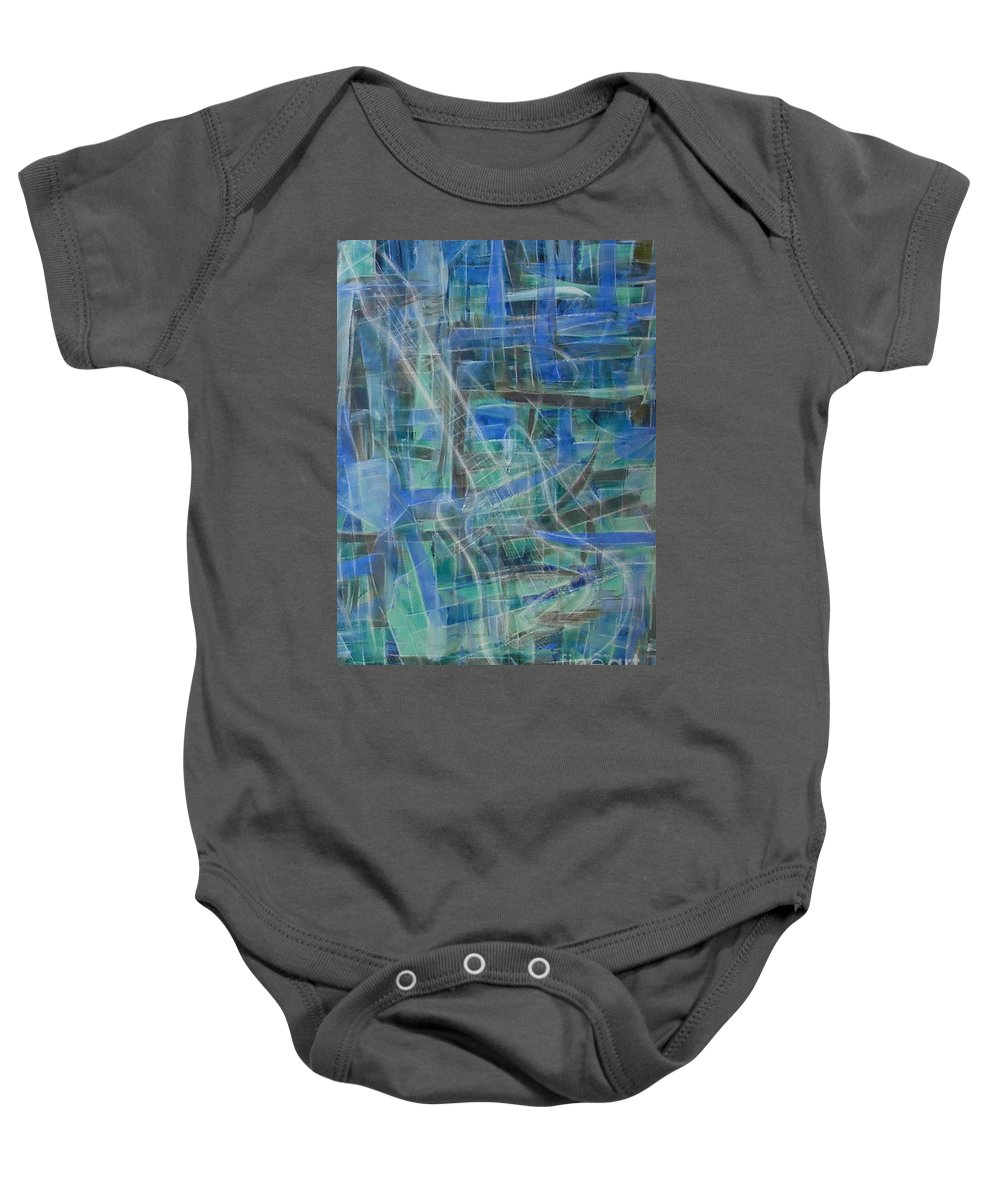 Guitar Baby Onesie featuring the painting Singing The Blues by Dawn Hough Sebaugh