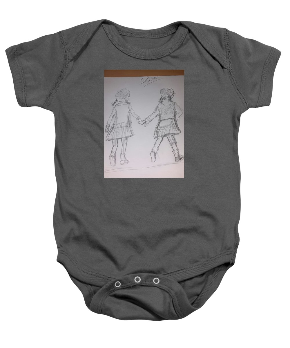 Drawing Baby Onesie featuring the drawing Sisters by Cindy Riley