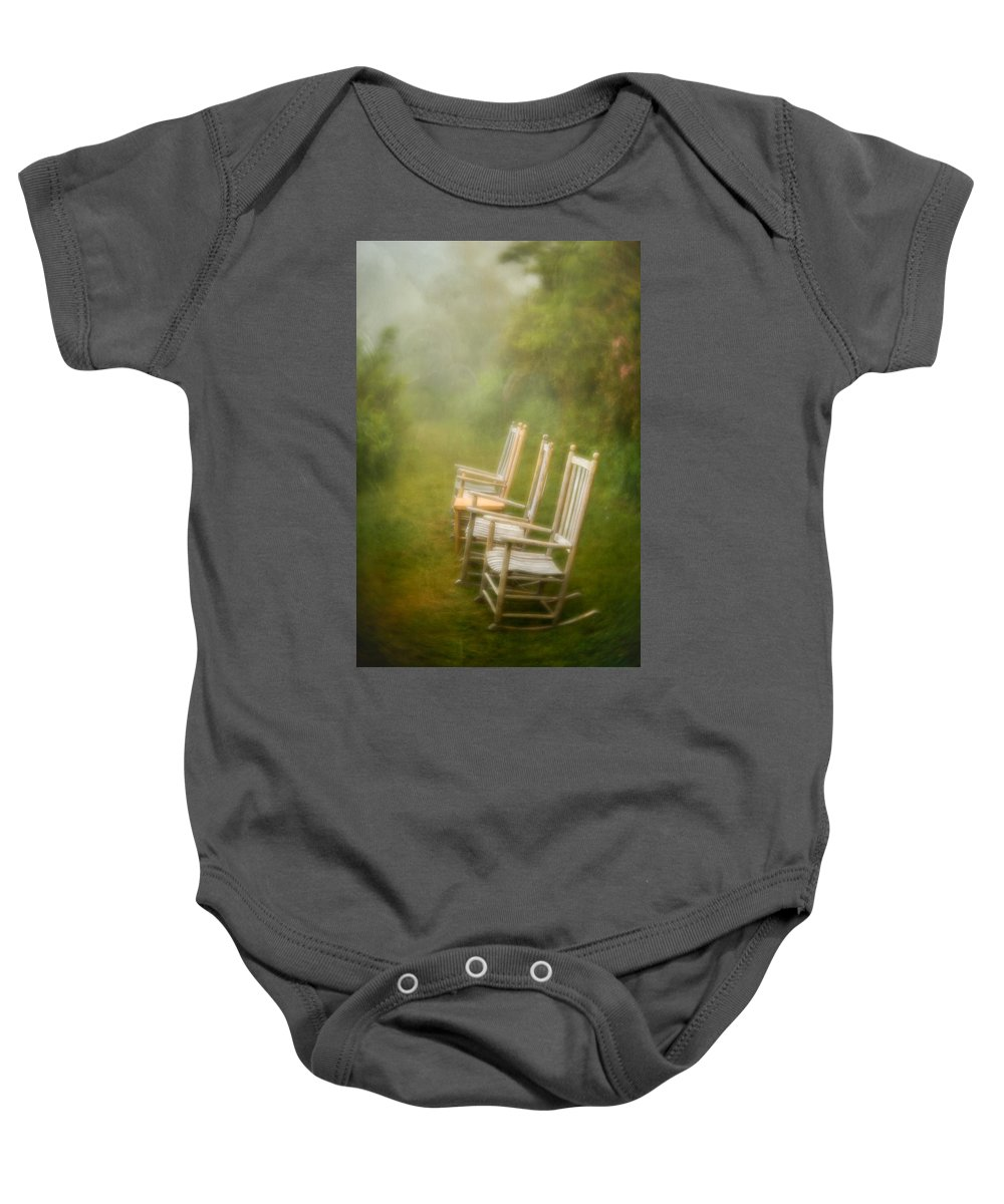 Mt. Pisgah Baby Onesie featuring the photograph Sit A Spell by Joye Ardyn Durham