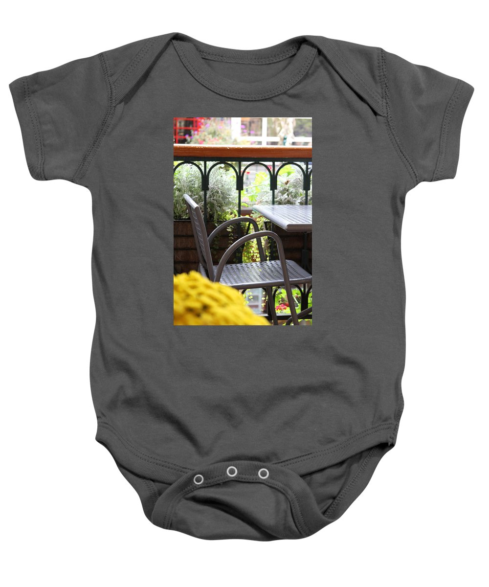 Chair Baby Onesie featuring the photograph Sit A While by Laddie Halupa