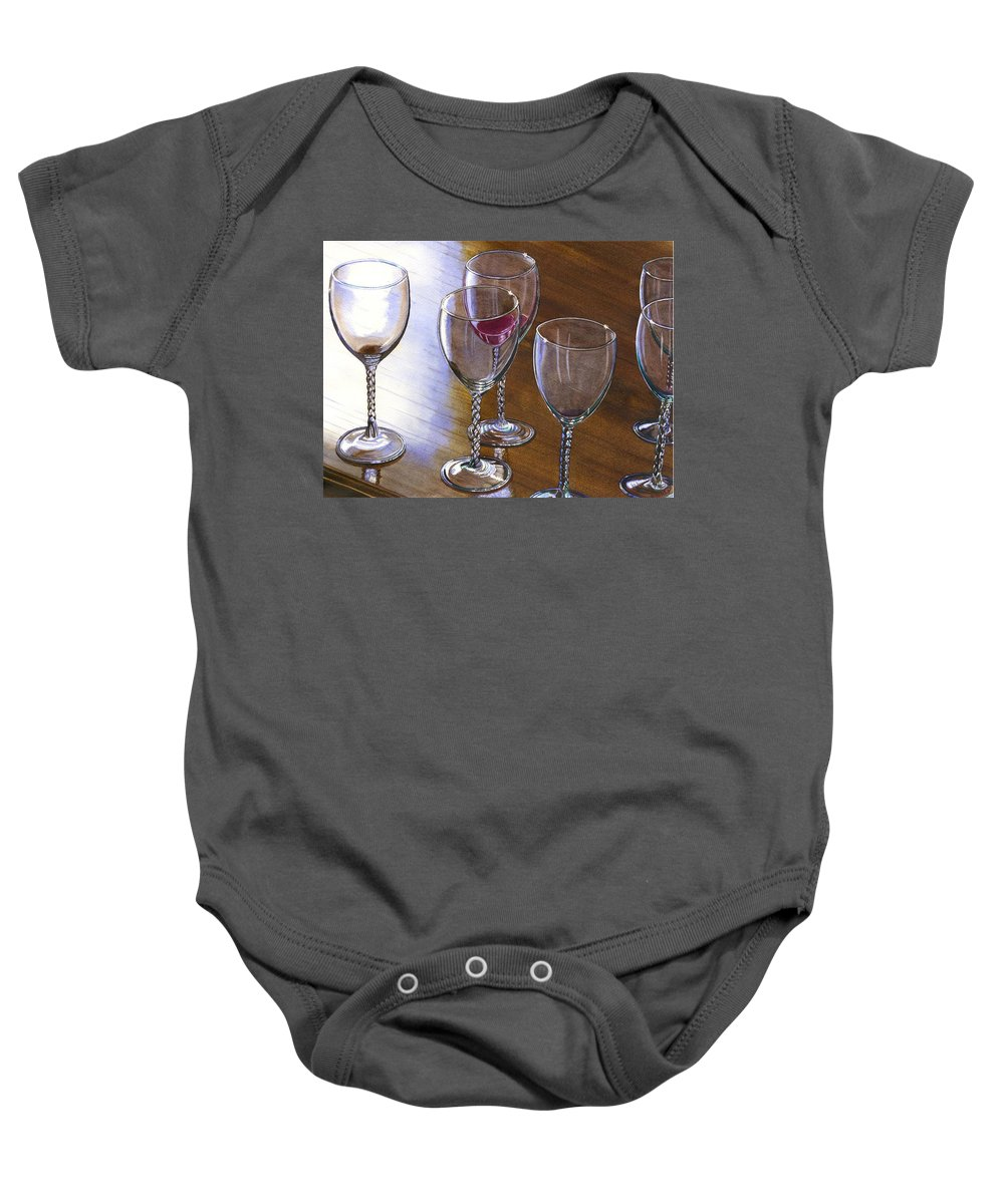 Glasses Baby Onesie featuring the painting Six Wine Glasses by Catherine G McElroy