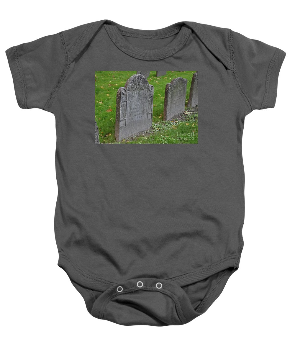 Boston Baby Onesie featuring the photograph Skeleton Tombstone 1600s by Brittany Horton