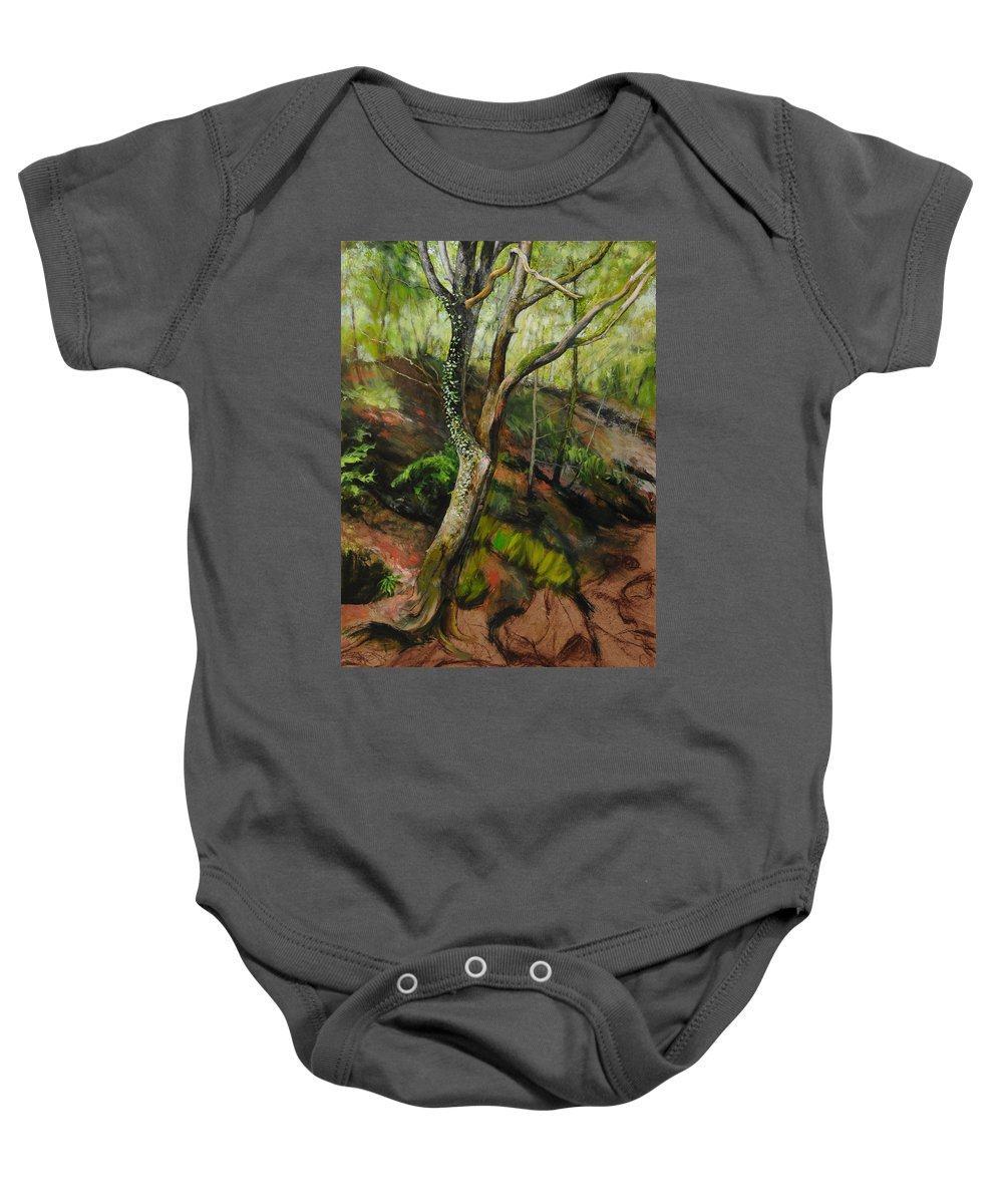 Landscape Baby Onesie featuring the painting Sketch Of A Treetrunk by Harry Robertson