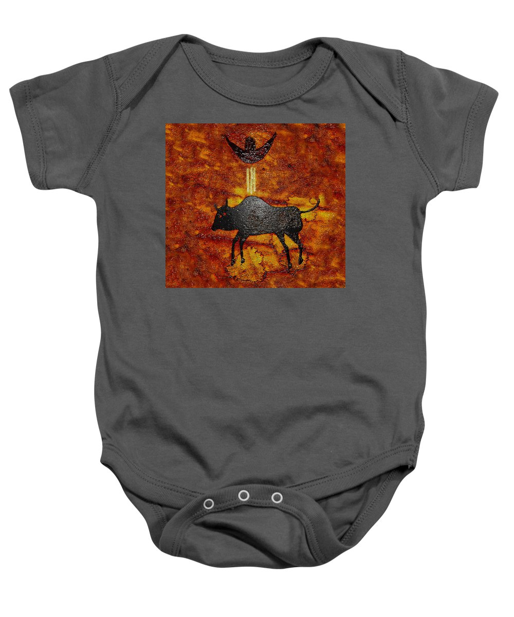 Art Baby Onesie featuring the painting Sky People Taking Buffalo by David Lee Thompson
