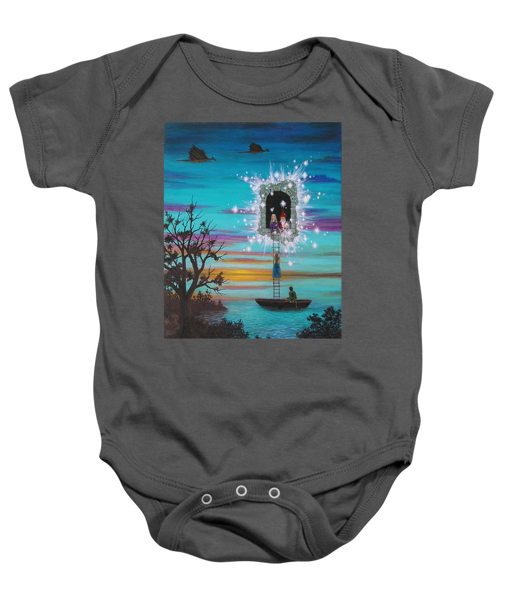Fantasy Baby Onesie featuring the painting Sky Window by Roz Eve