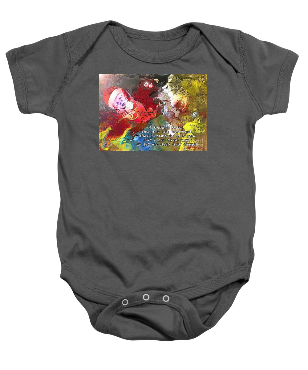 Messiah Painting Baby Onesie featuring the painting Sleepig Messiah by Miki De Goodaboom