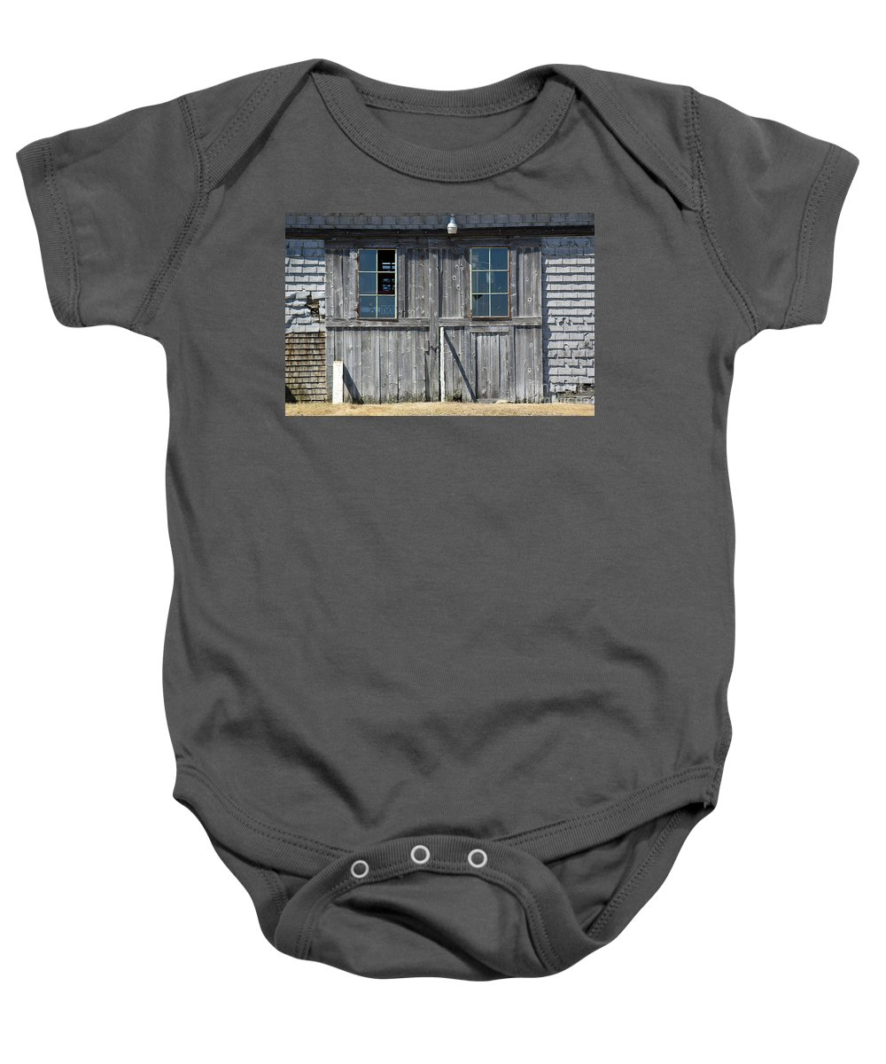 Barn Baby Onesie featuring the photograph Sliding Barn Doors With Windows by William Tasker