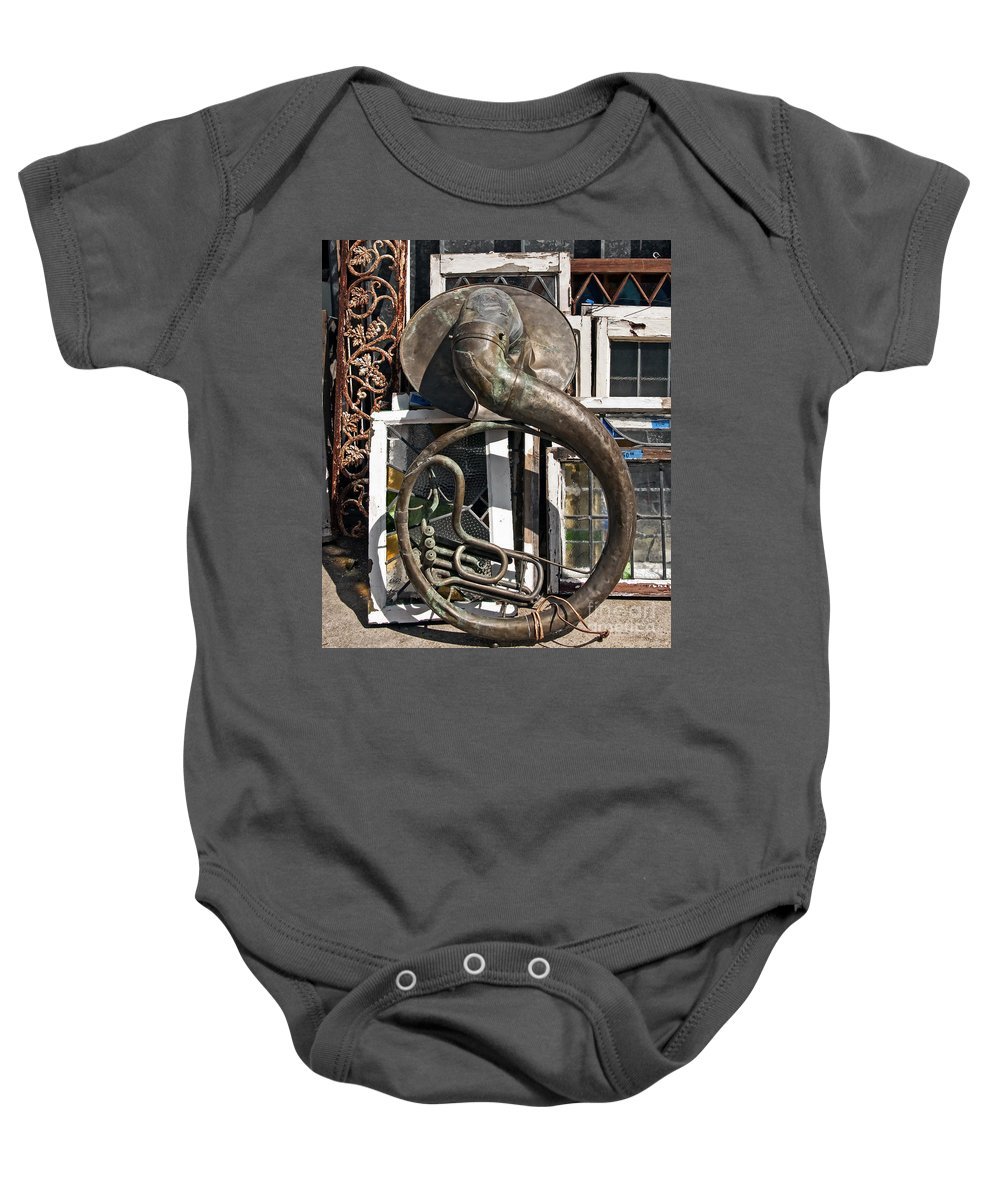 Tuba Baby Onesie featuring the photograph Slightly Worn Out Vintage Tuba Seeks New Home by Kathleen K Parker