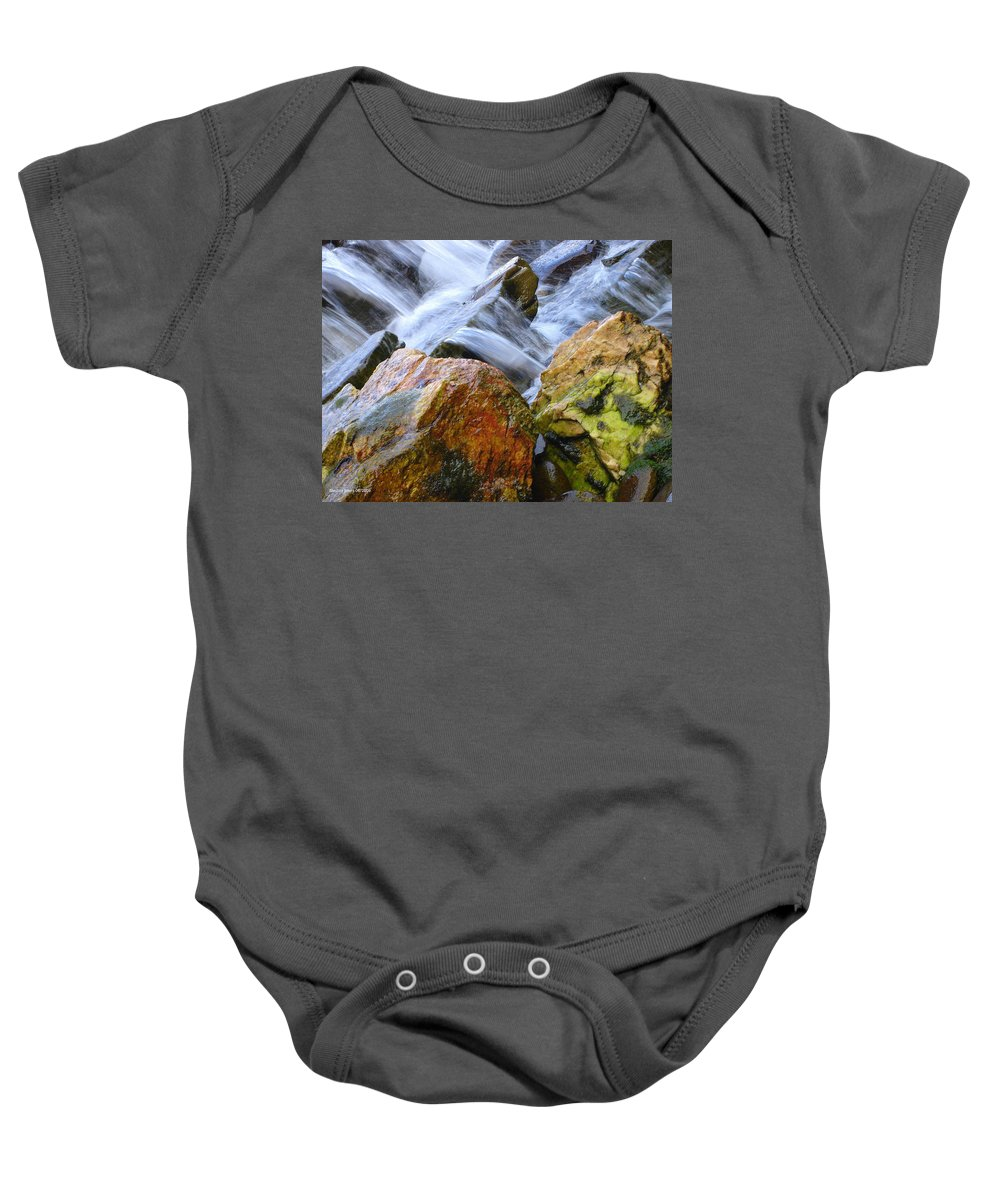 Rocks Baby Onesie featuring the photograph Slippery When Wet by Shelley Jones