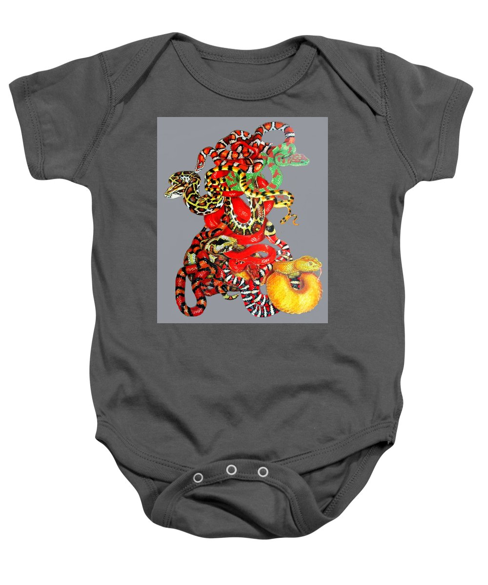 Reptile Baby Onesie featuring the drawing Slither by Barbara Keith