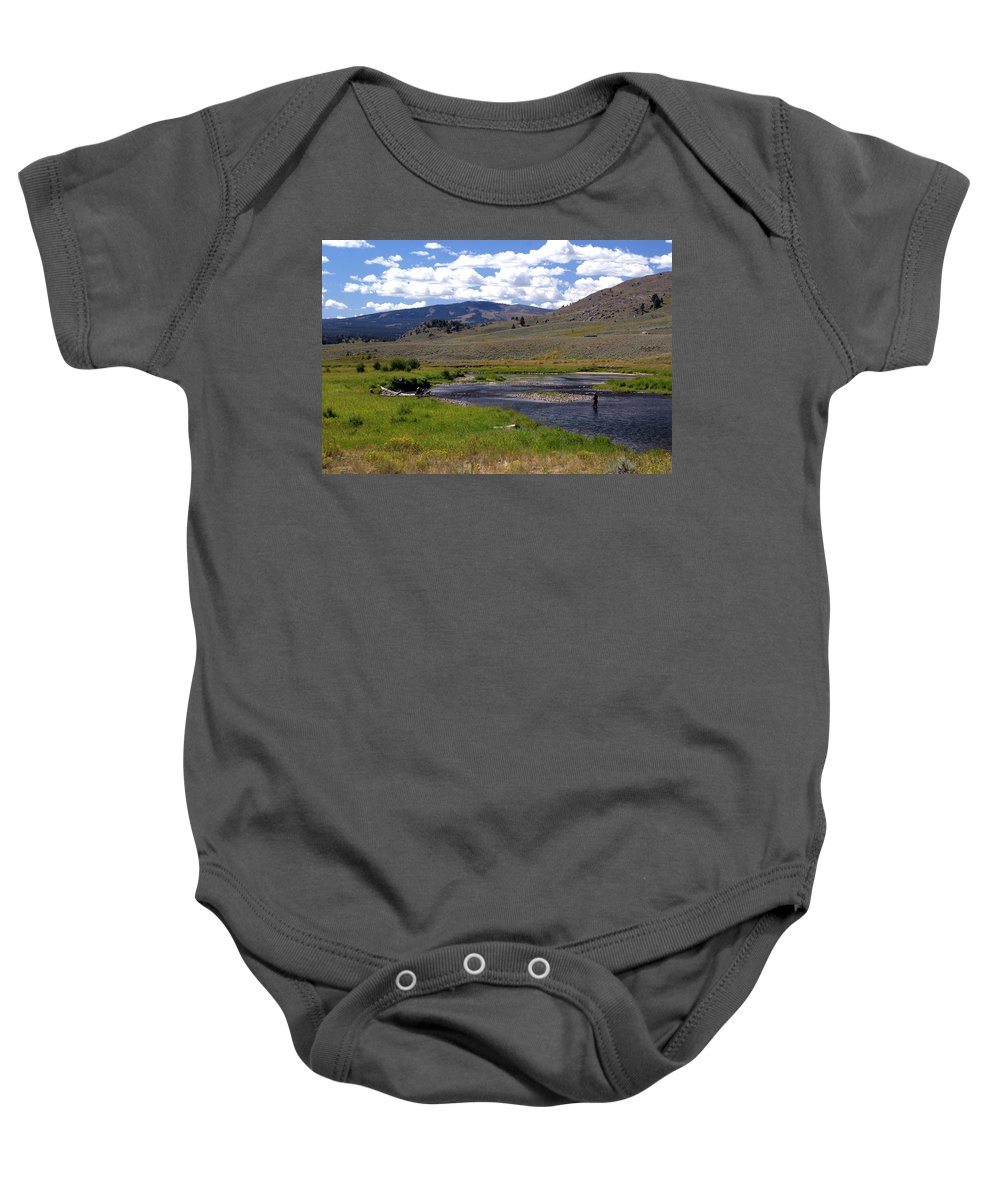 Yellowston National Park Baby Onesie featuring the photograph Slough Creek Angler by Marty Koch