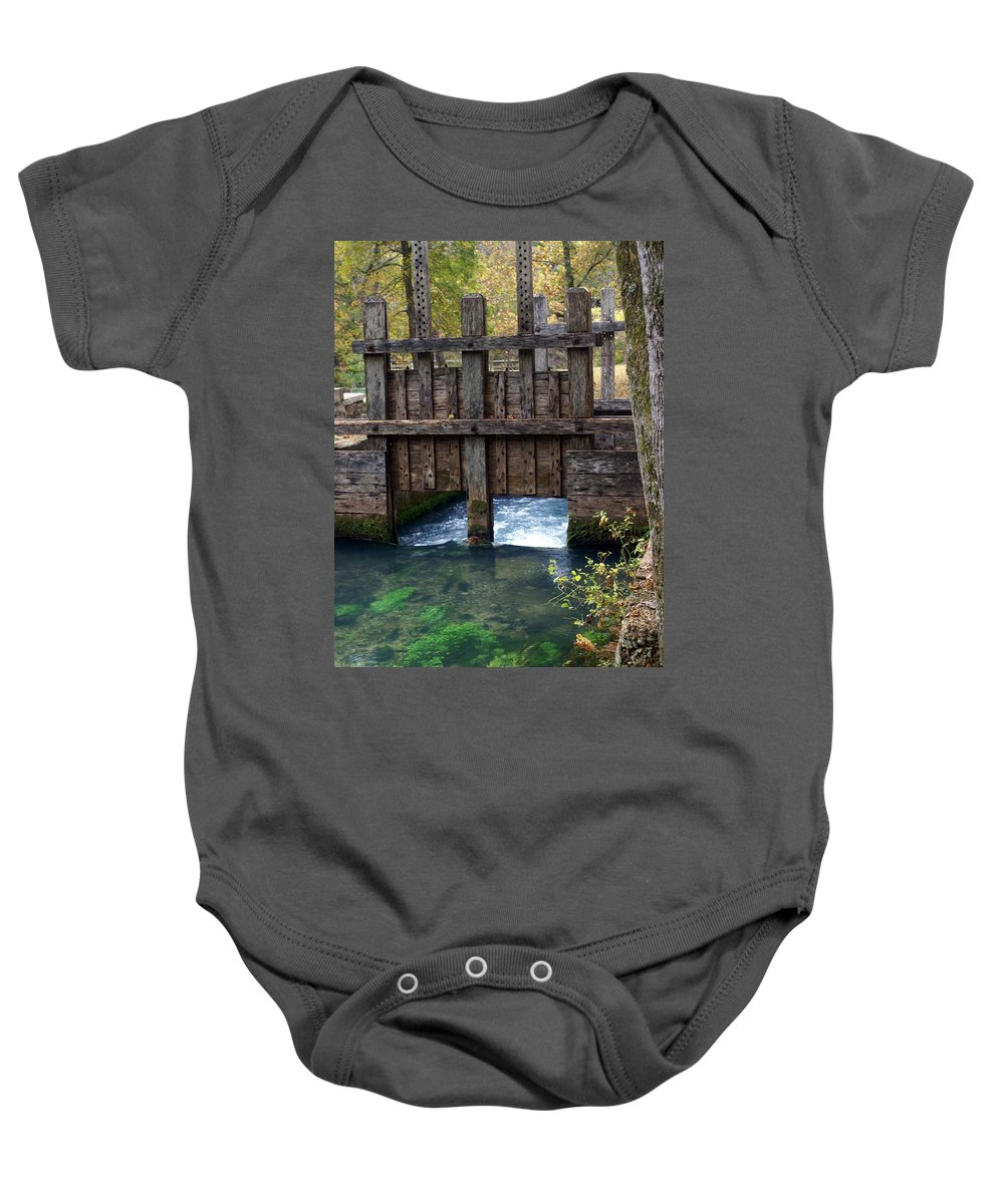 Alley Spring Baby Onesie featuring the photograph Sluce Gate by Marty Koch