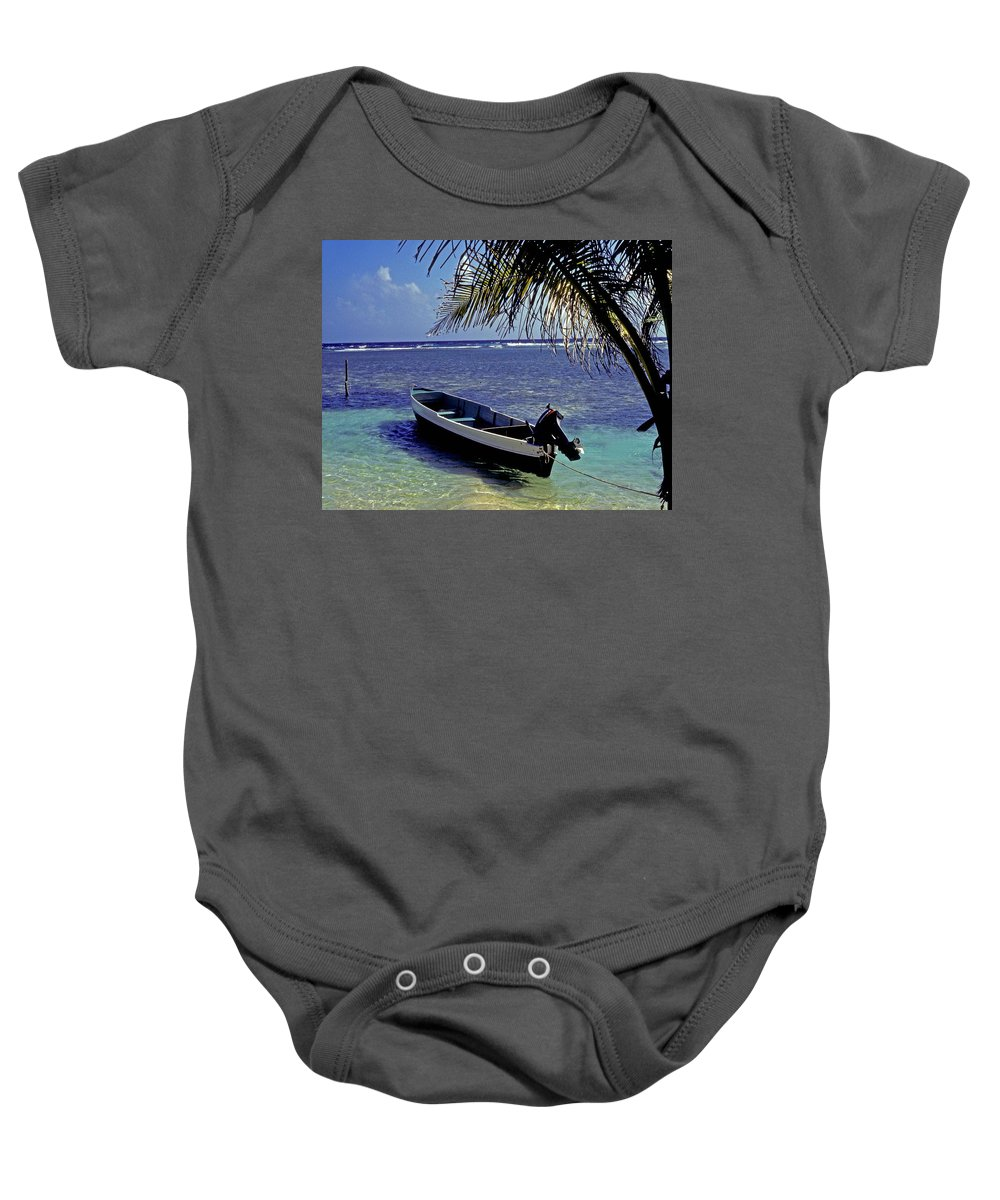 Boat Baby Onesie featuring the photograph Small Boat Belize by Gary Wonning