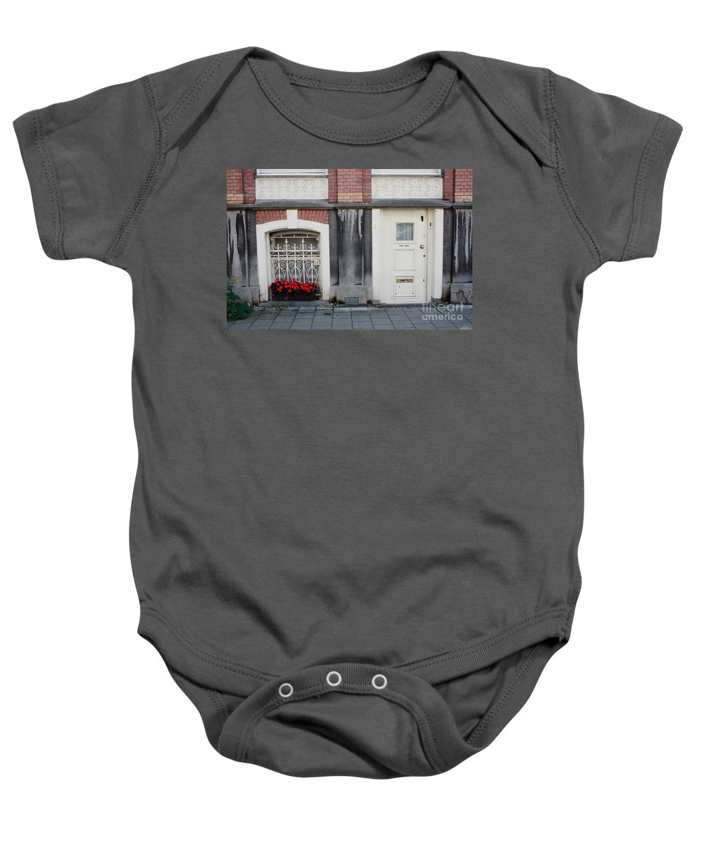 Flower Baby Onesie featuring the photograph Small Door And Flower Box Amsterdam by Thomas Marchessault