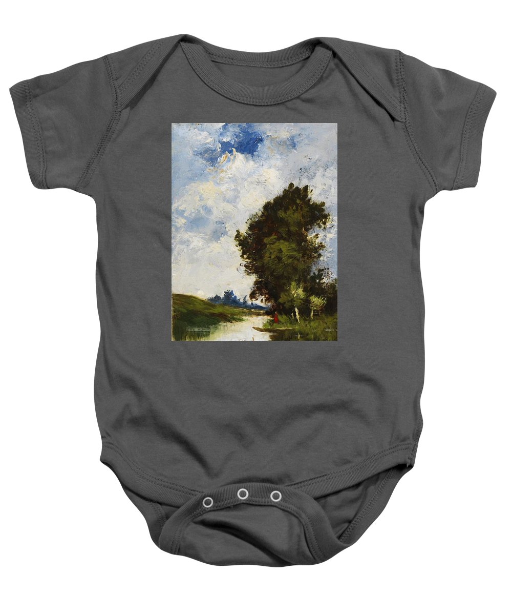 Small Baby Onesie featuring the painting Small Floodplain by Dupre Jules