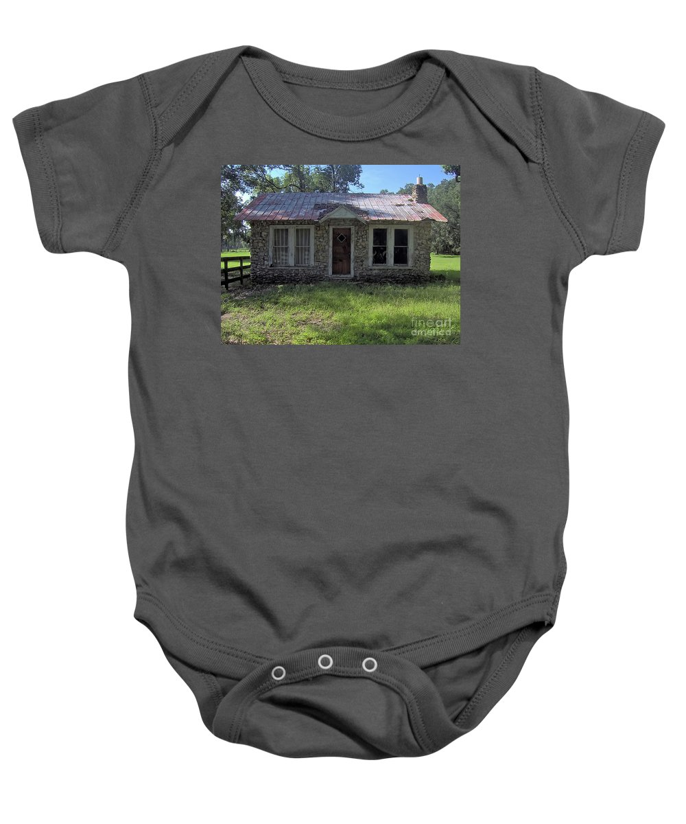 Chert Baby Onesie featuring the photograph Small Limestone Home by D Hackett