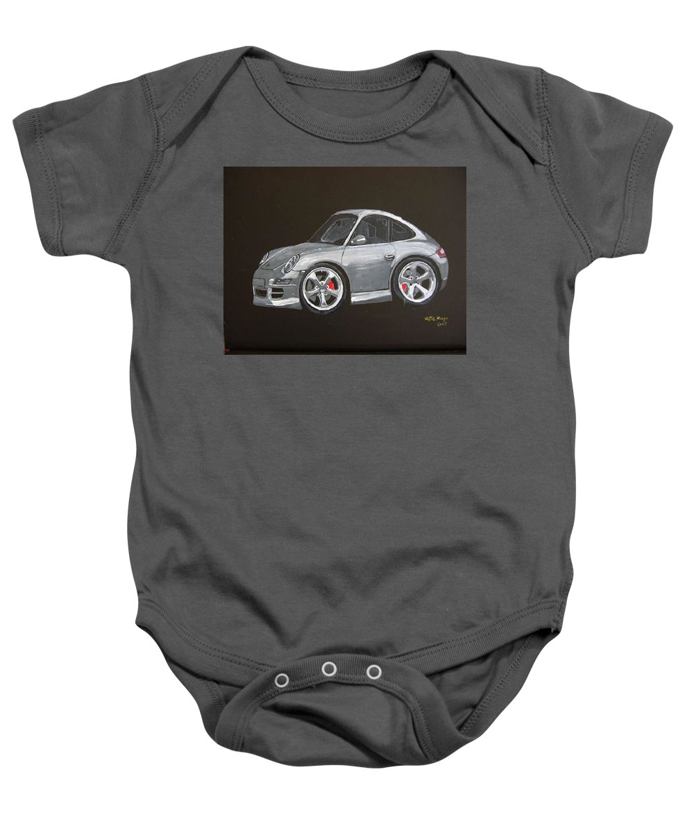 Car Baby Onesie featuring the painting Smart Porsche by Richard Le Page