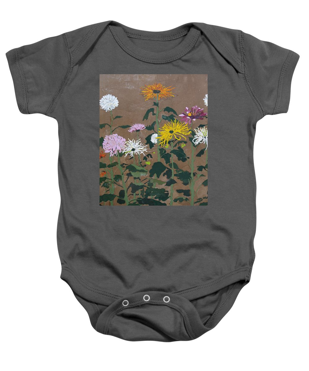 Collage Baby Onesie featuring the painting Smith's Giant Chrysanthemums by Leah Tomaino