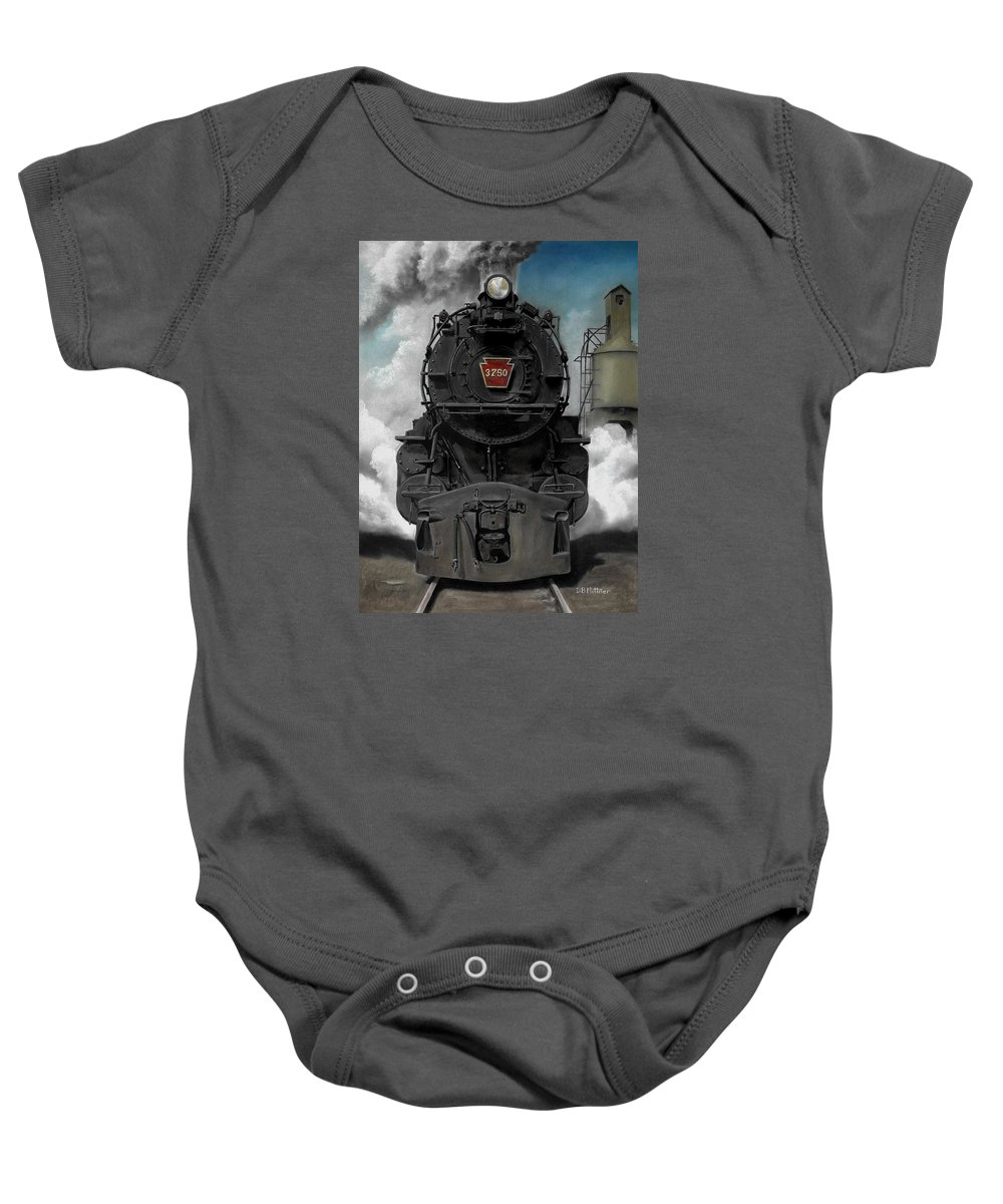 Trains Baby Onesie featuring the painting Smoke And Steam by David Mittner