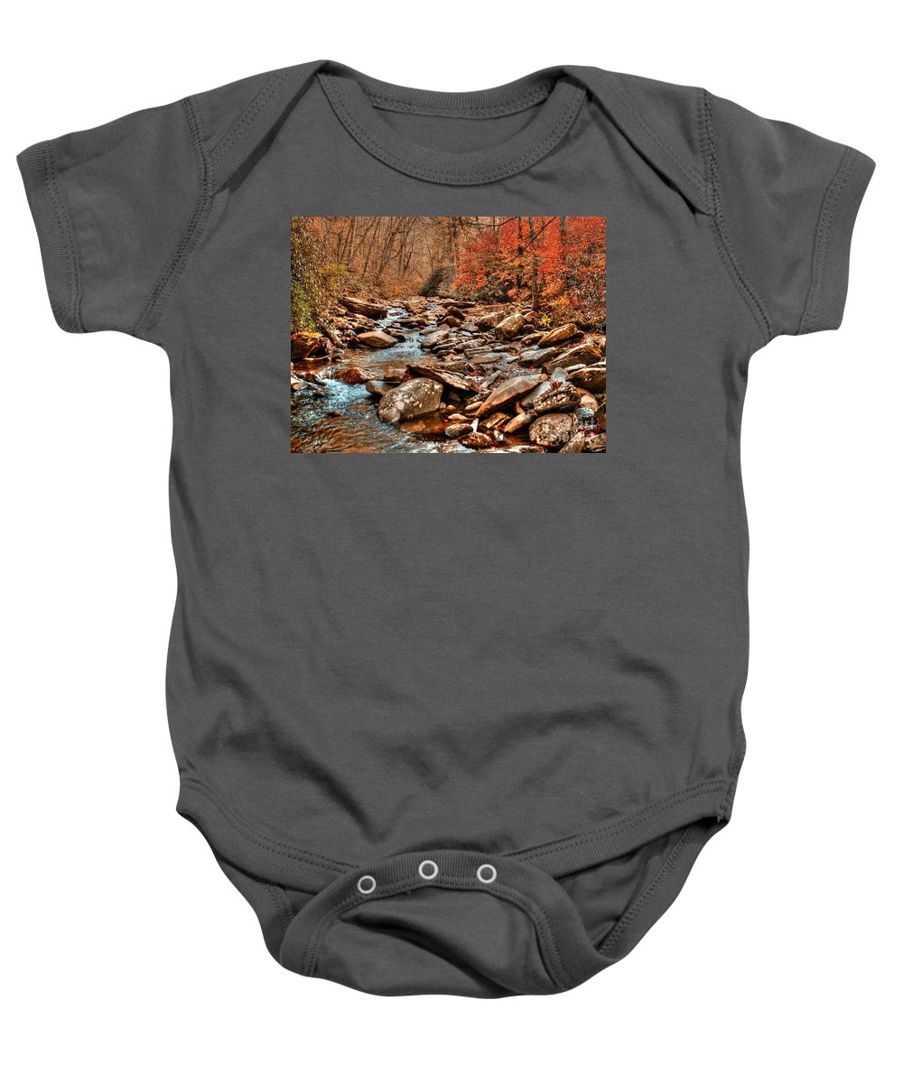 Smokey Mountains Baby Onesie featuring the photograph Smokey Mountain Streams And Fall Foilage 2 by Randy Matthews