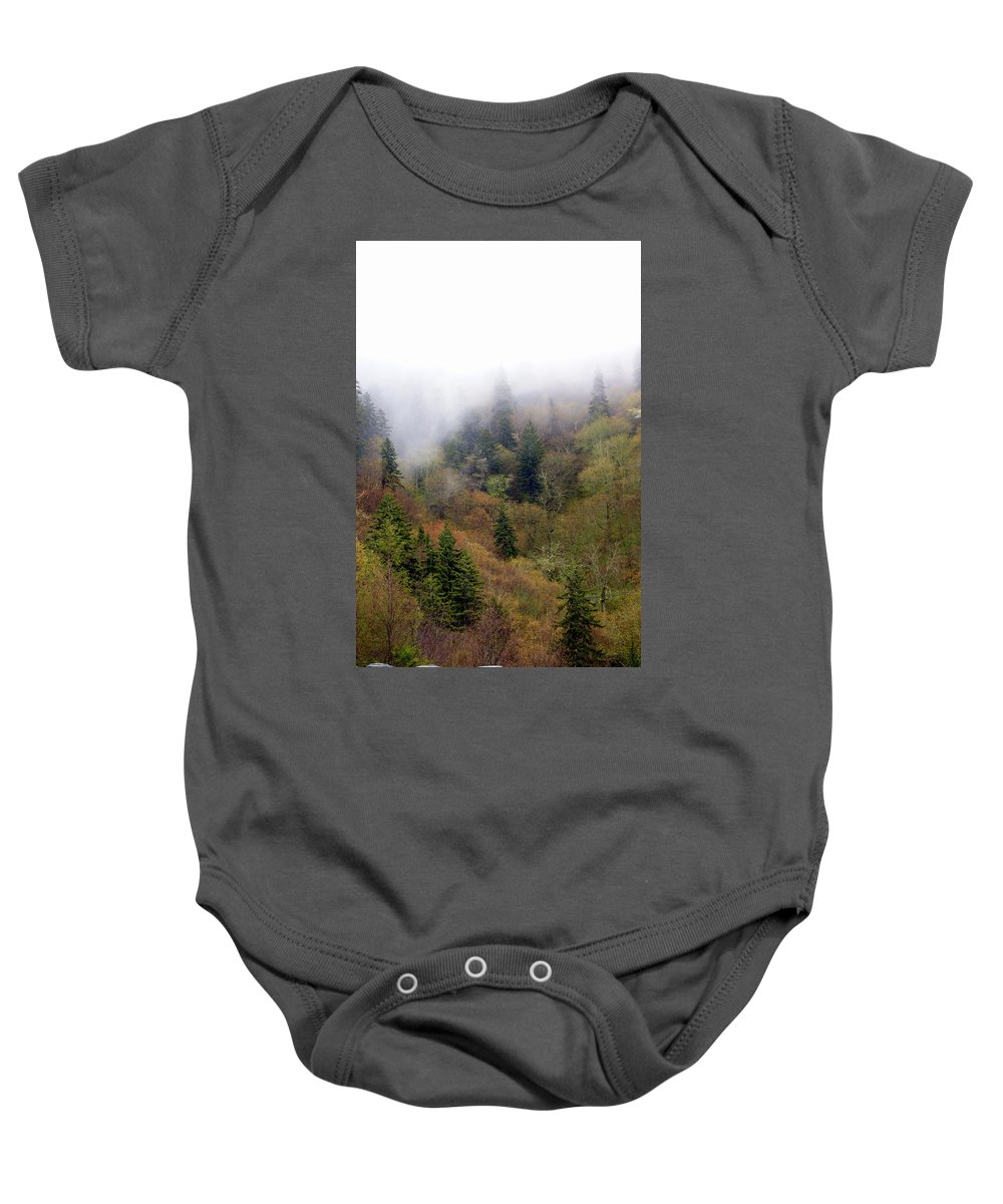 Fog Baby Onesie featuring the photograph Smoky Mount Vertical by Marty Koch