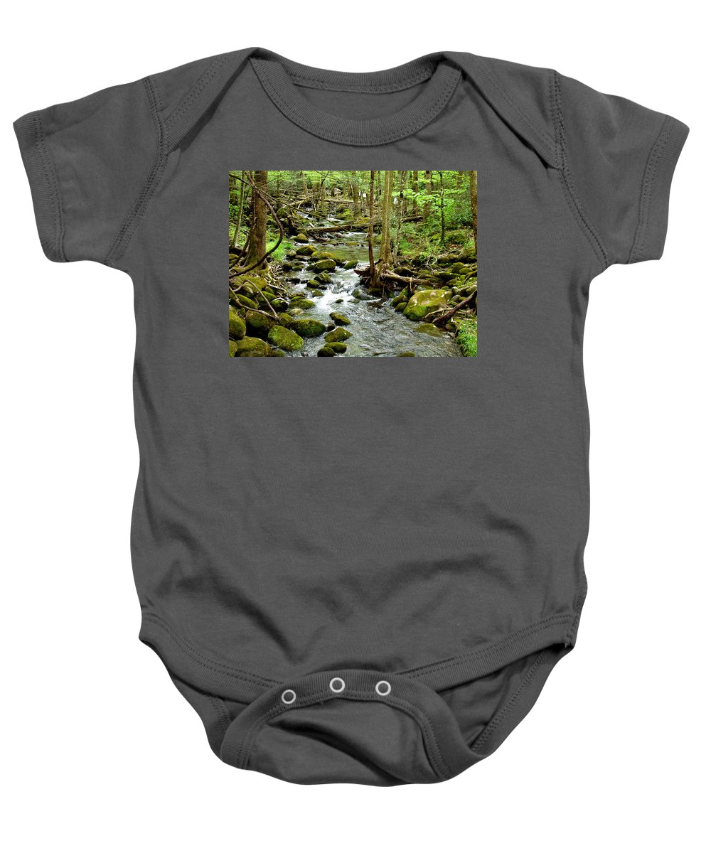 Smoky Mountains Baby Onesie featuring the photograph Smoky Mountain Stream 1 by Nancy Mueller