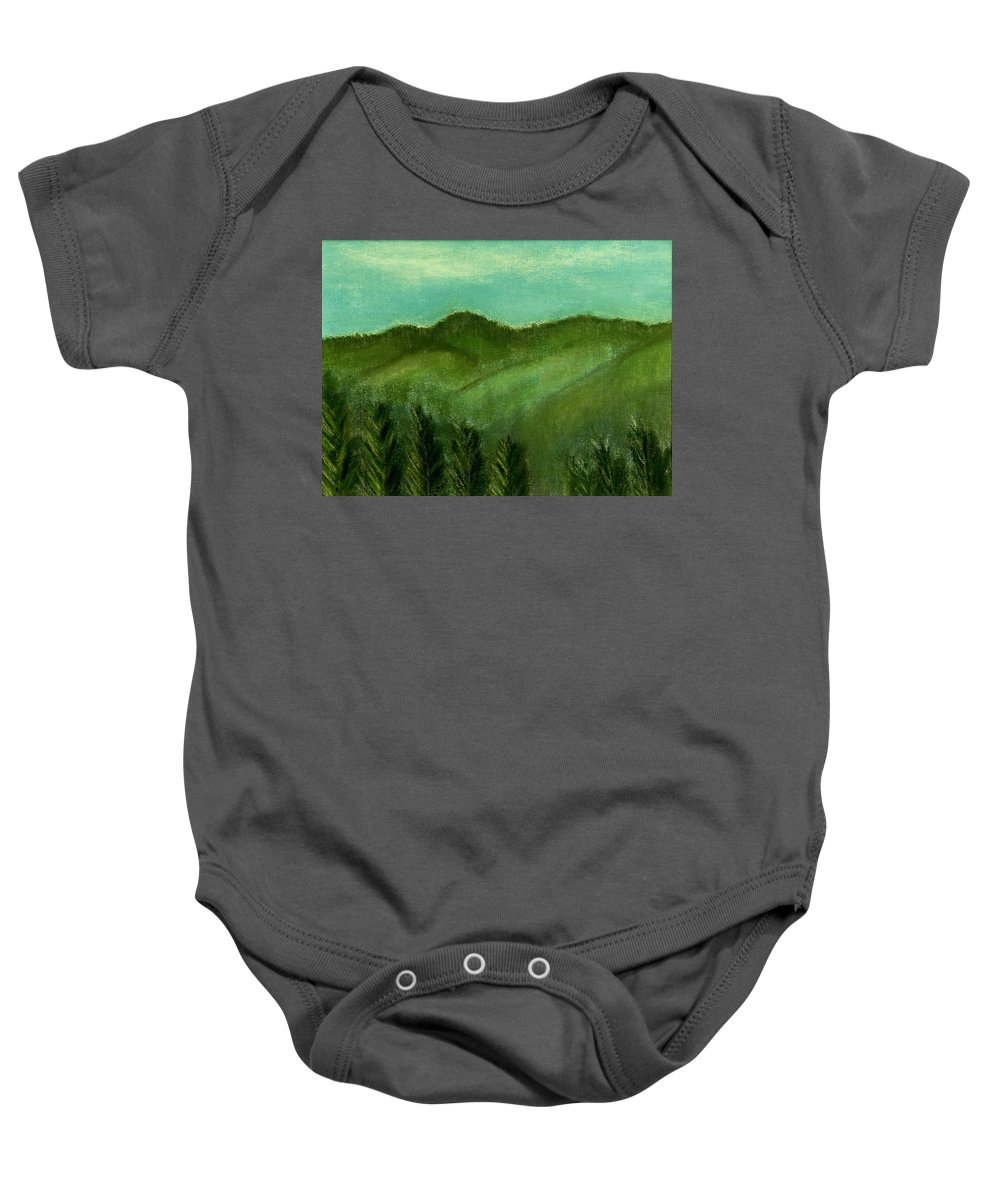 Trees Baby Onesie featuring the painting Smoky Mountains by Melvin Moon