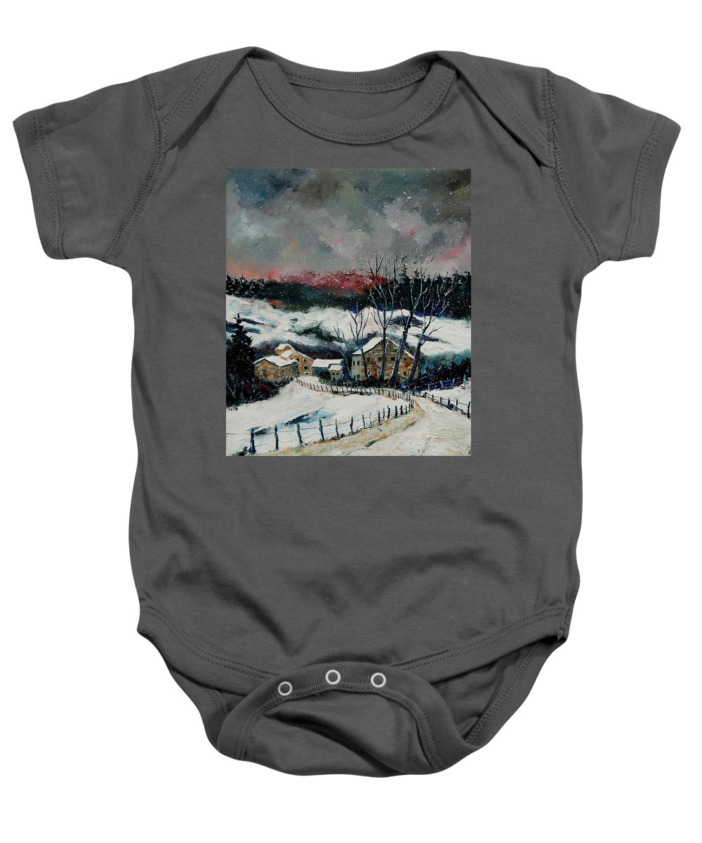 Winter Baby Onesie featuring the painting Snow In Sechery Redu by Pol Ledent