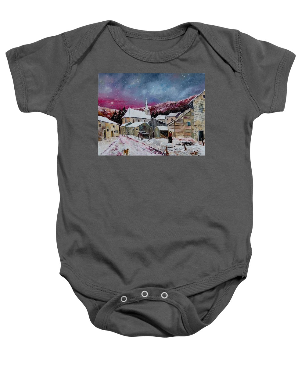 Snow Baby Onesie featuring the painting Snow Is Falling by Pol Ledent