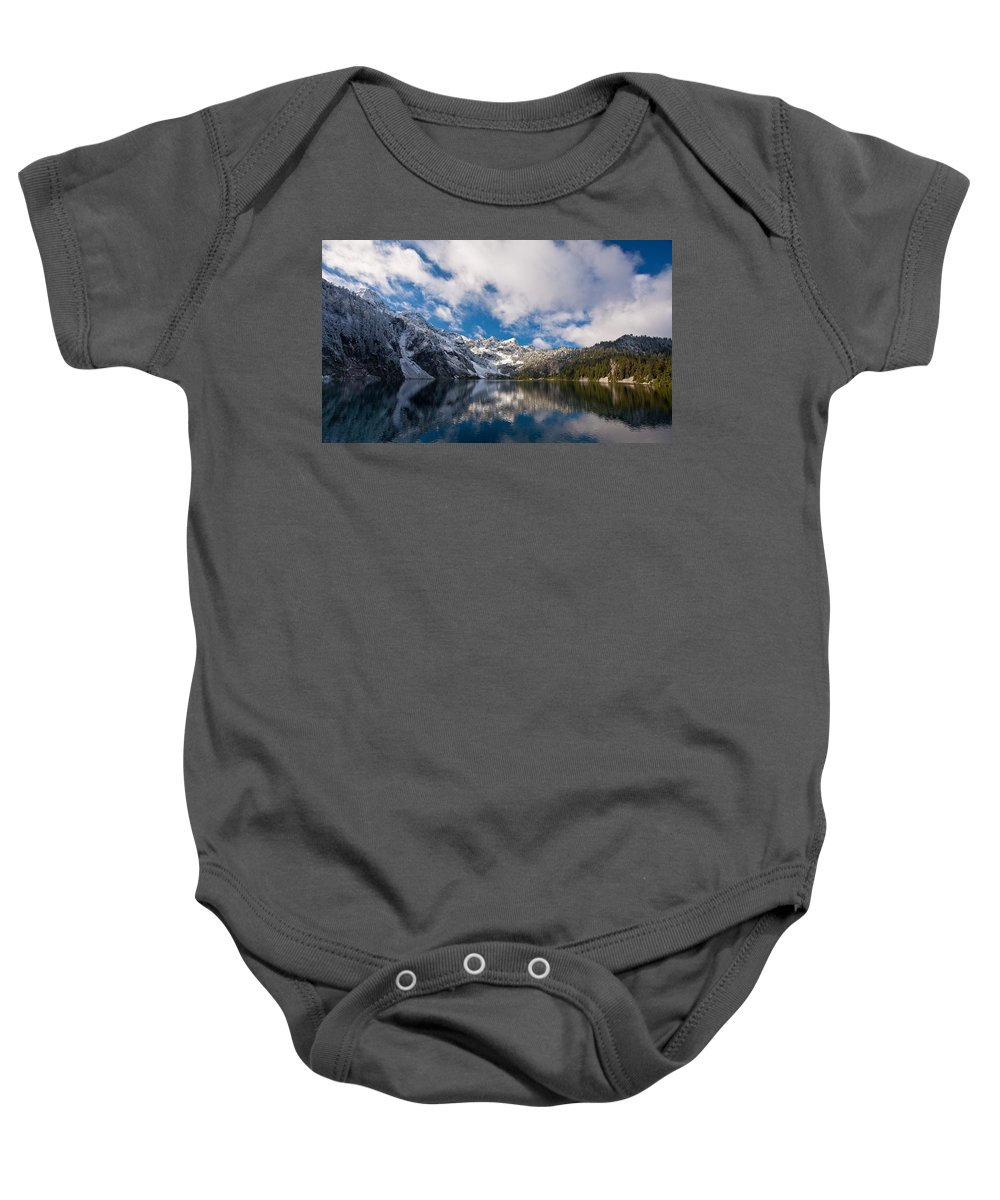 Snow Lake Baby Onesie featuring the photograph Snow Lake Vista by Mike Reid