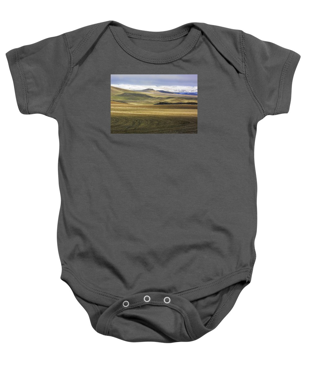 Hill Baby Onesie featuring the photograph Snow On The Horizon by Ami Linden