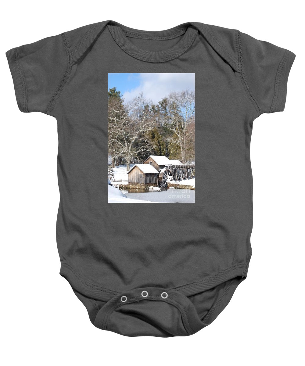 Snow Baby Onesie featuring the photograph Snow on the Mill 2 by Eric Liller
