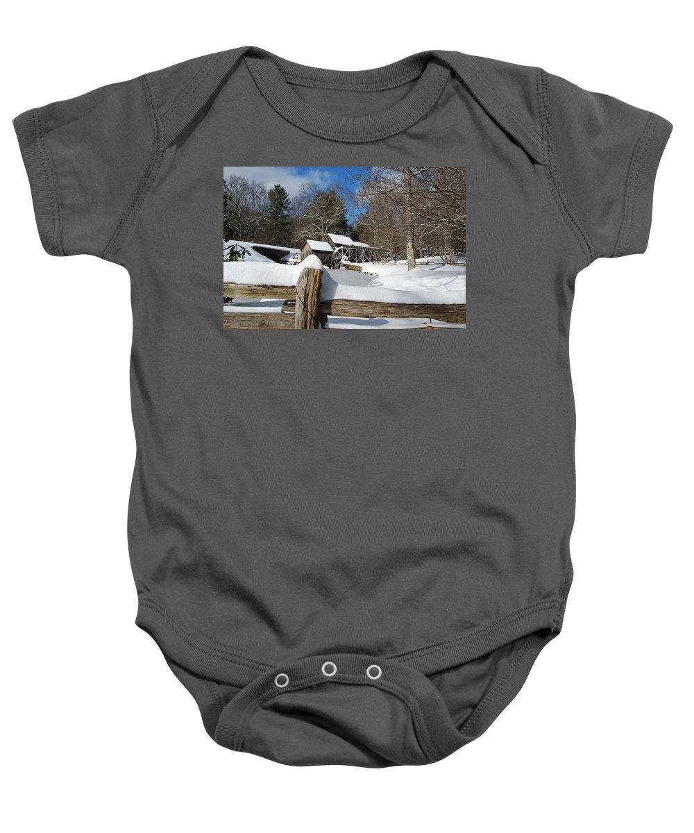 Snow Baby Onesie featuring the photograph Snow on The Old Time Mill by Eric Liller