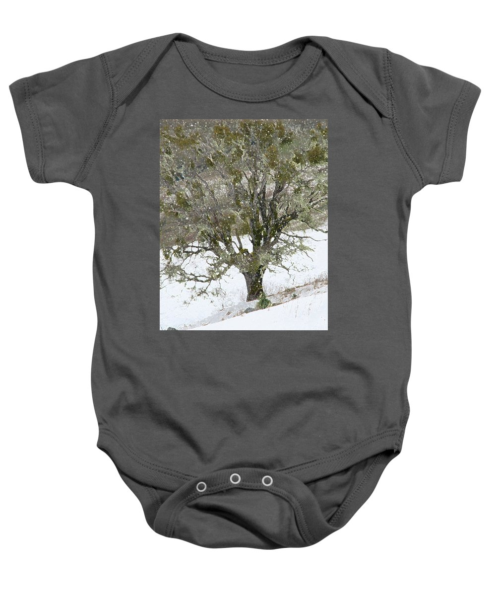 Tree Baby Onesie featuring the photograph Snow Tree by Carol Eliassen