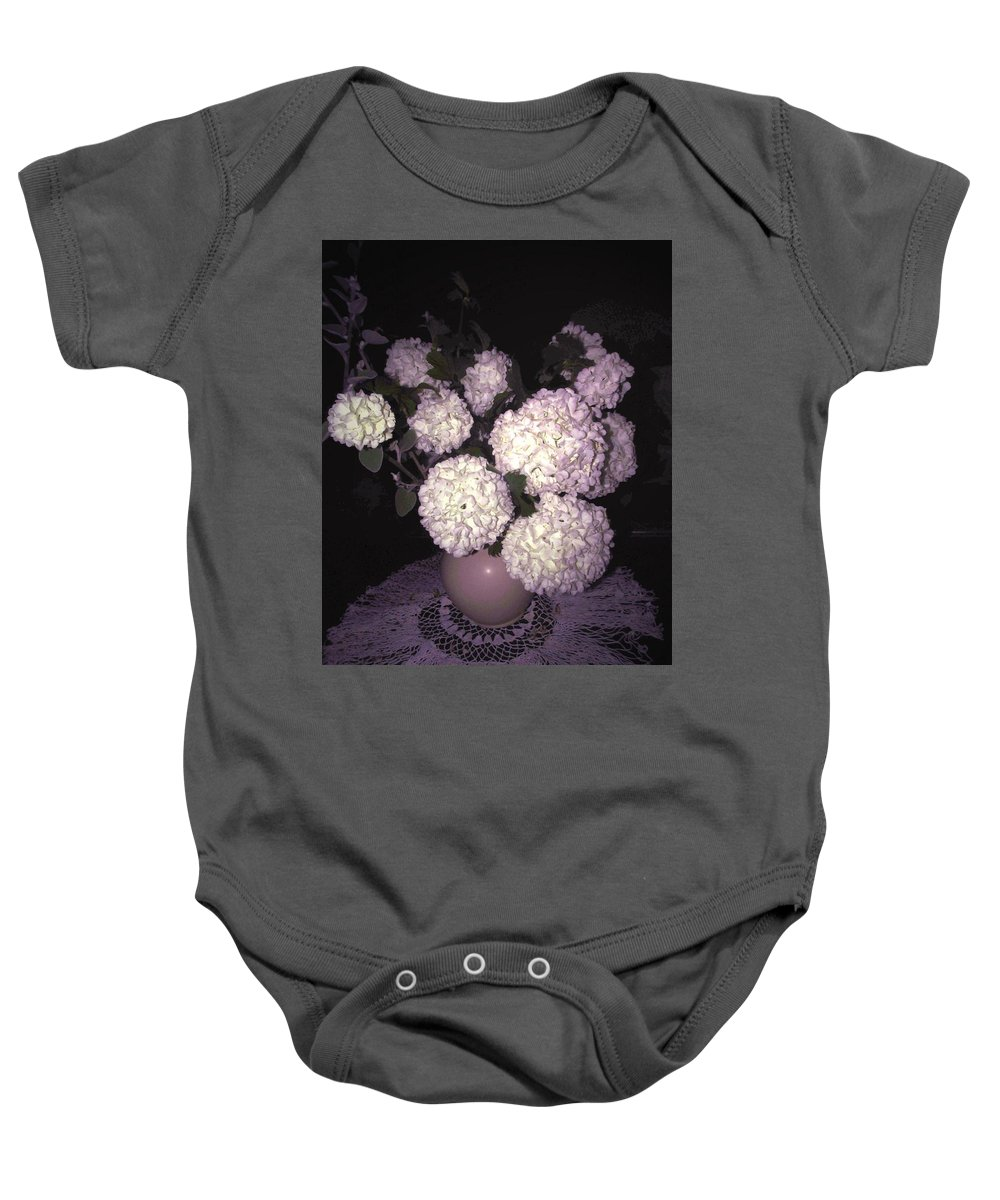Snowball Baby Onesie featuring the photograph Snowball Bouquet by Joyce Dickens