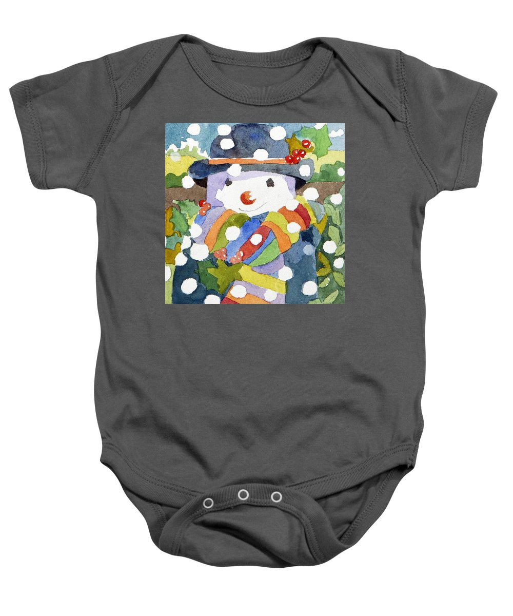 Snow Baby Onesie featuring the painting Snowman In Snow by Jennifer Abbot