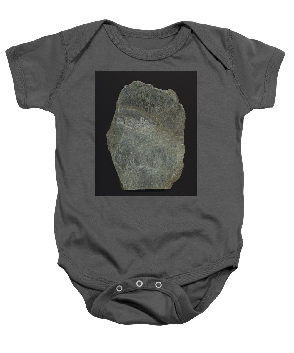 Stone Baby Onesie featuring the mixed media Snowswept Cliff Palace by Richard Bulman