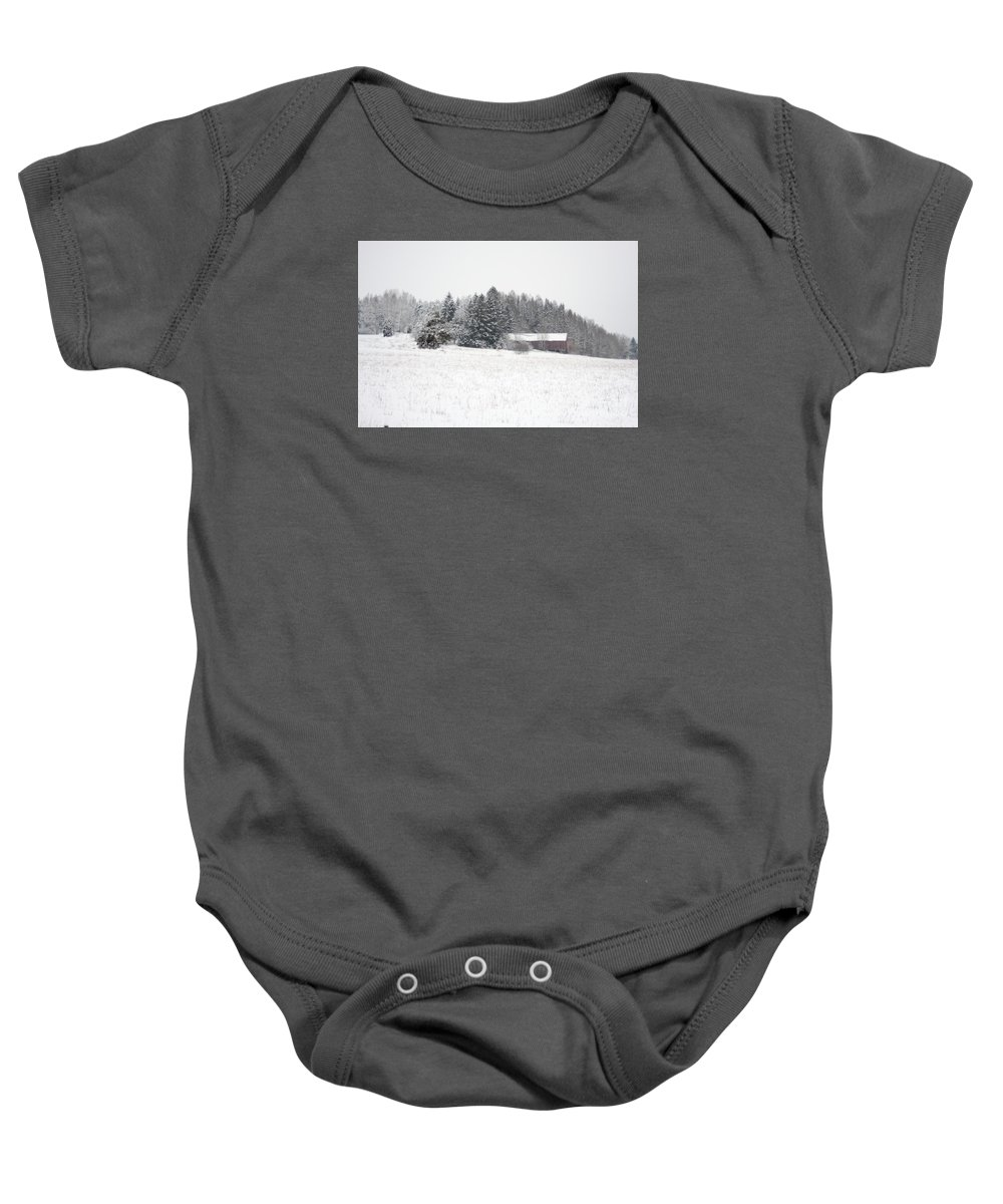 Barn Baby Onesie featuring the photograph Snowy Countryside by Esko Lindell