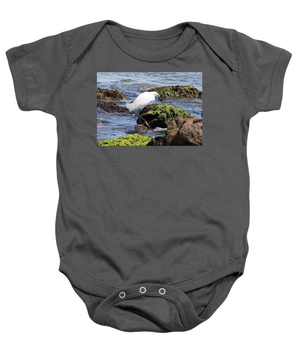 Nature Baby Onesie featuring the photograph Snowy Egret Series 2 2 Of 3 Preparing by David Mayeau