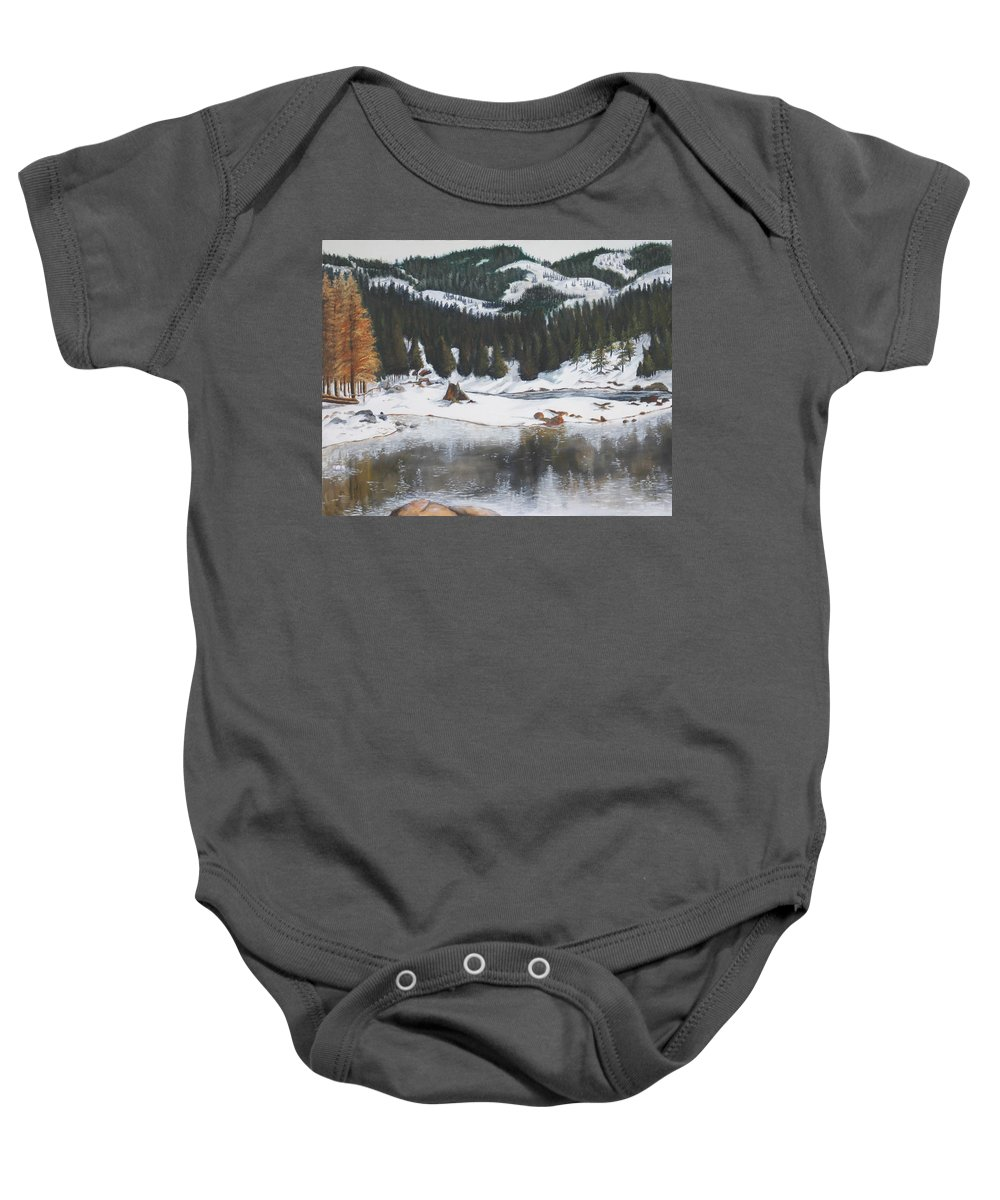 Snow Baby Onesie featuring the painting Snowy Lake by Travis Day