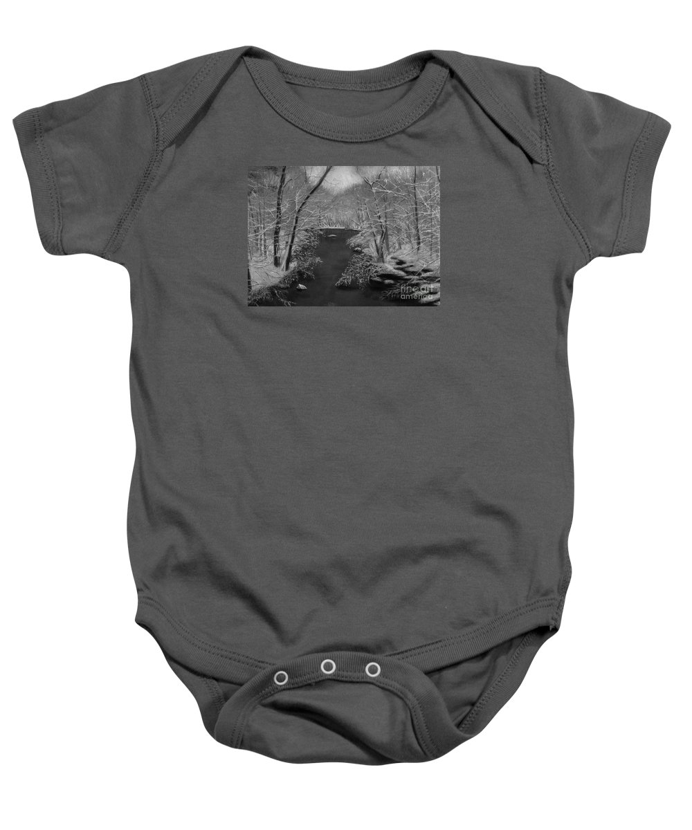 Black And White Baby Onesie featuring the painting Snowy River by Lynn Quinn