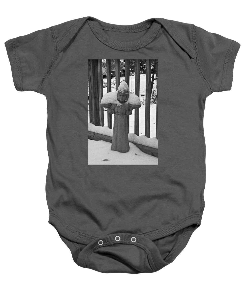 Statues Baby Onesie featuring the photograph Snowy Statue by David Campbell